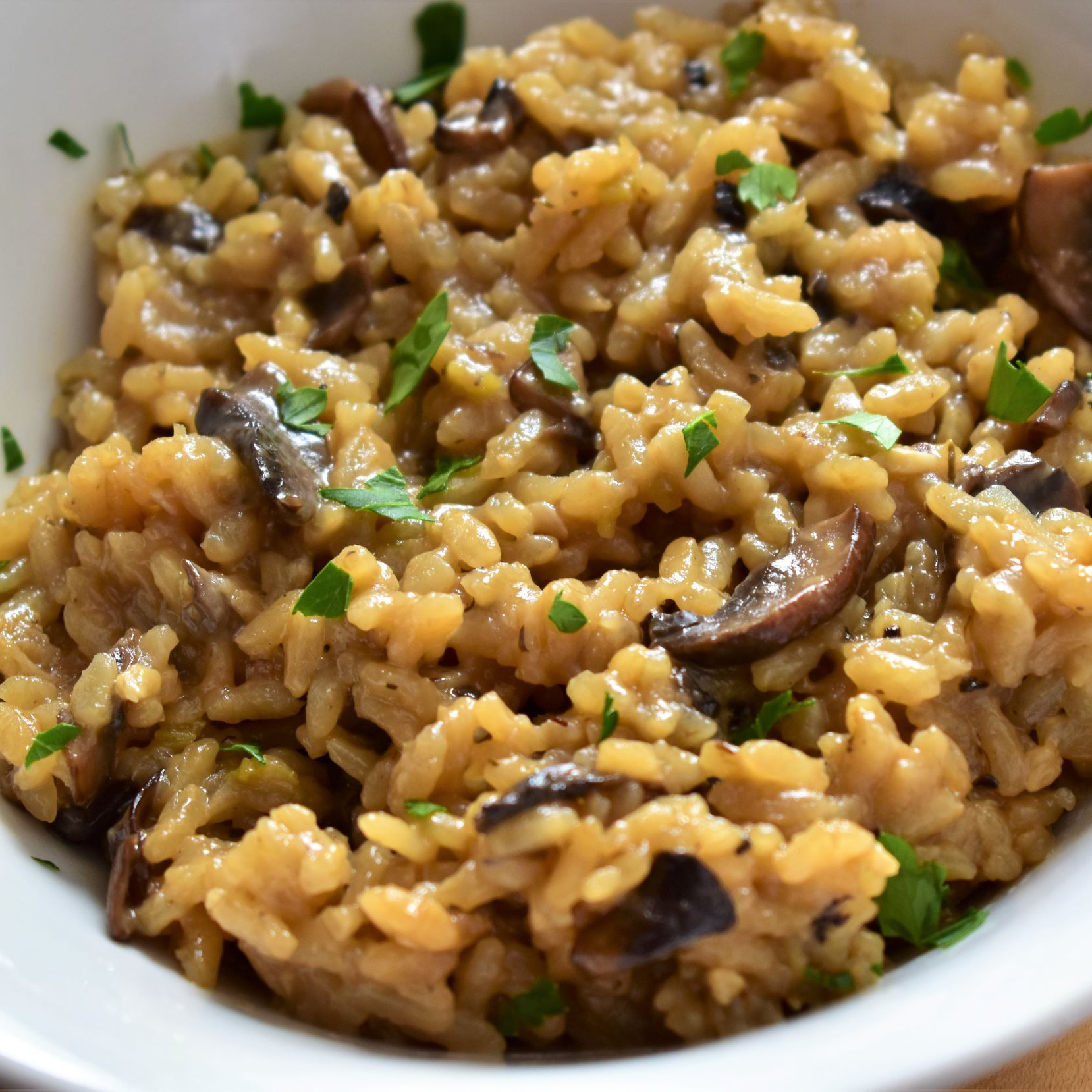 Vegan Mushroom Risotto in a white bowl