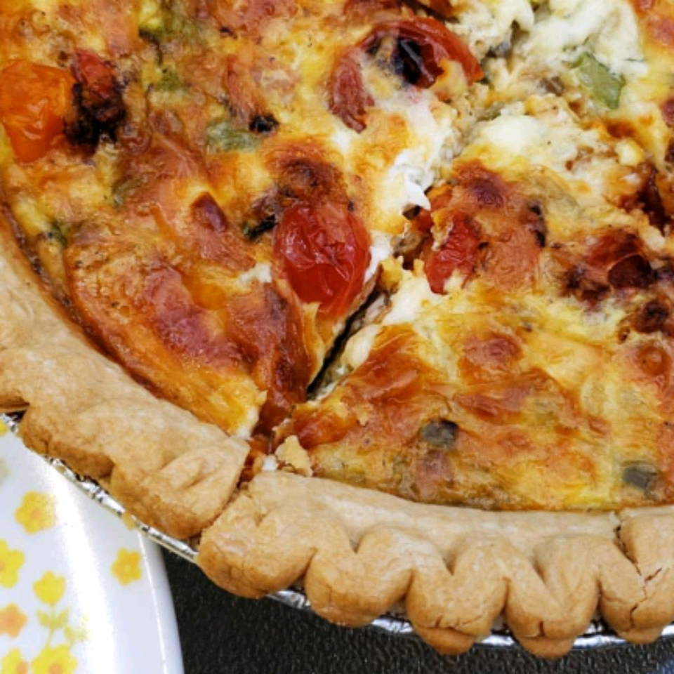 vegetarian quiche with cheese and vegetables