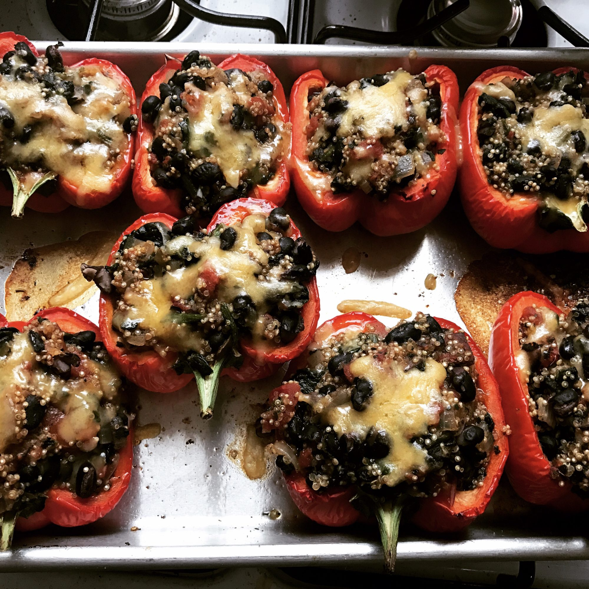 red bell pepper halves stuffed with quinoa, black beans, and cheese