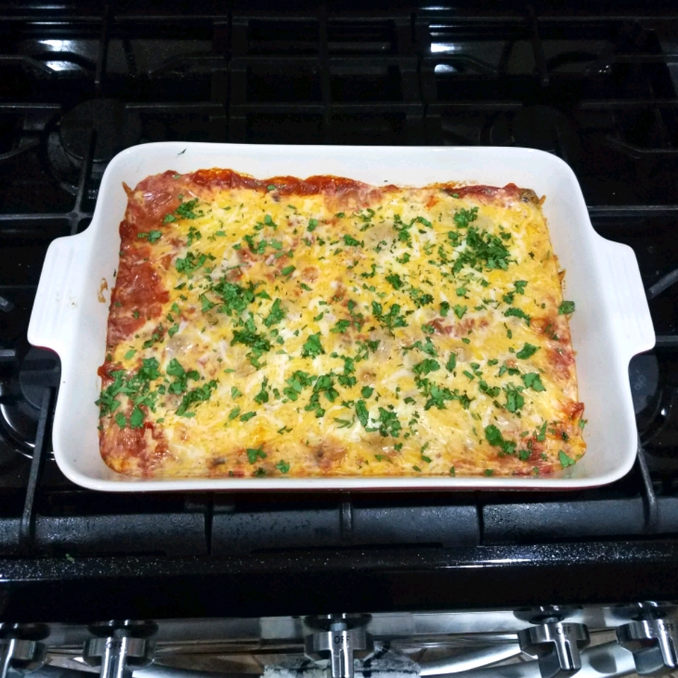 enchilada bake with cheese and salsa