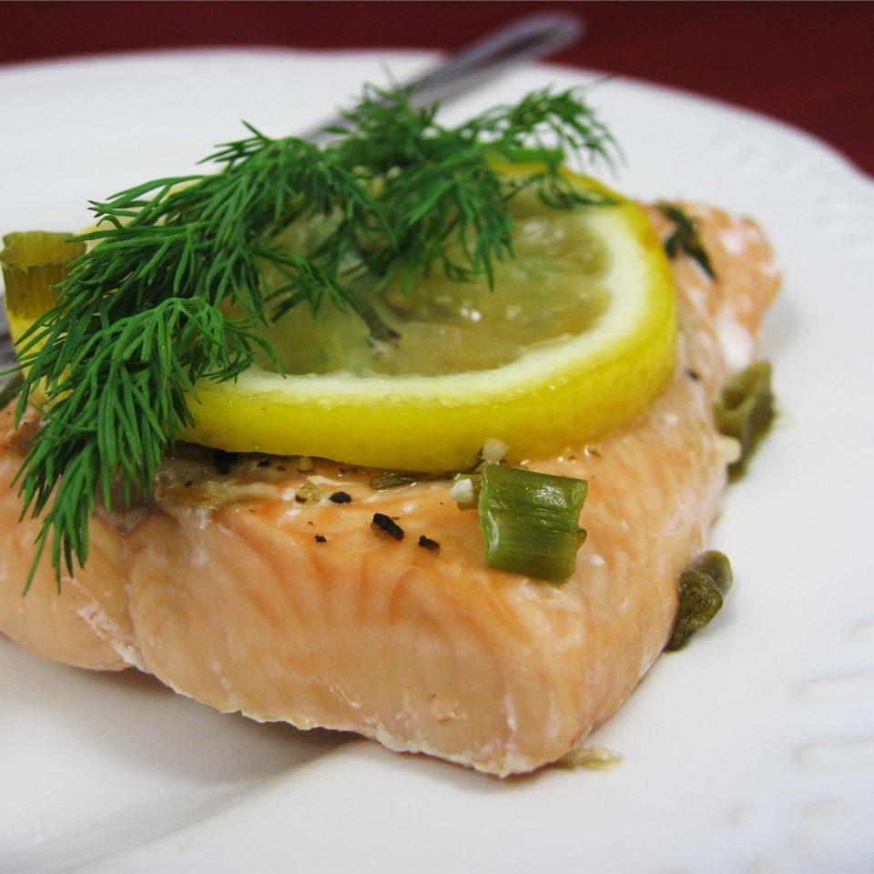 salmon fillet with fresh dill and lemon