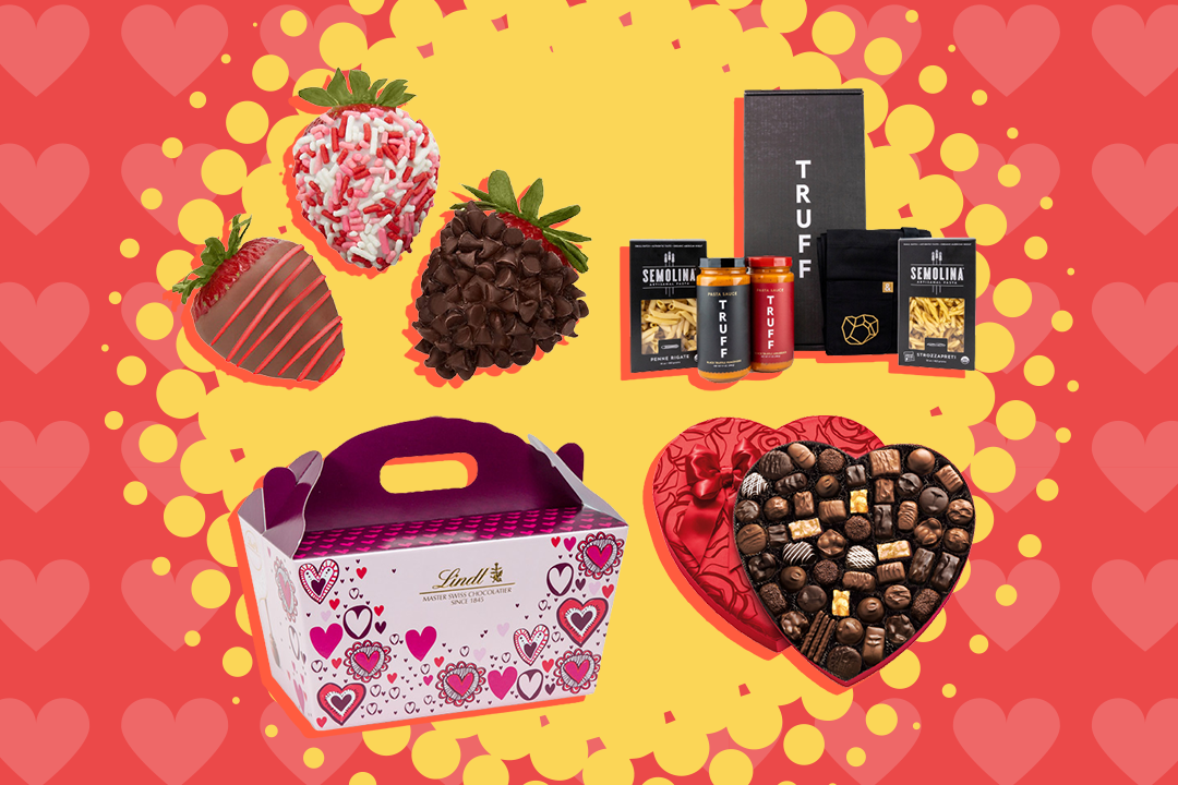 valentine's image with chocolate-dipped strawberries, pasta, heart of chocolates, and a box with valetnine's day hearts