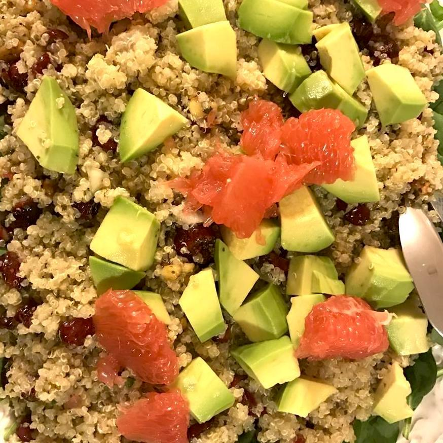 quinoa, grapefruit, avocado salad