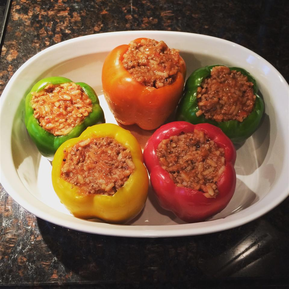 Healthier Stuffed Peppers in a white casserole dish