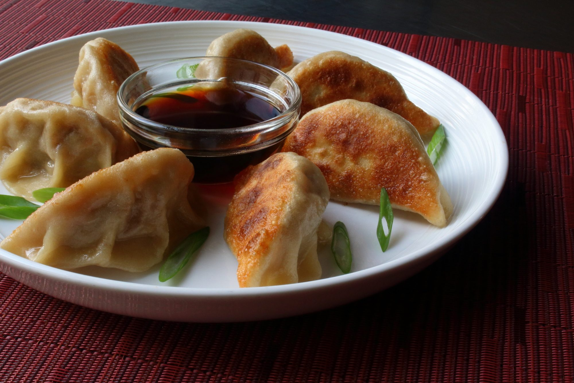portrait shot potstickers and dipping sauce