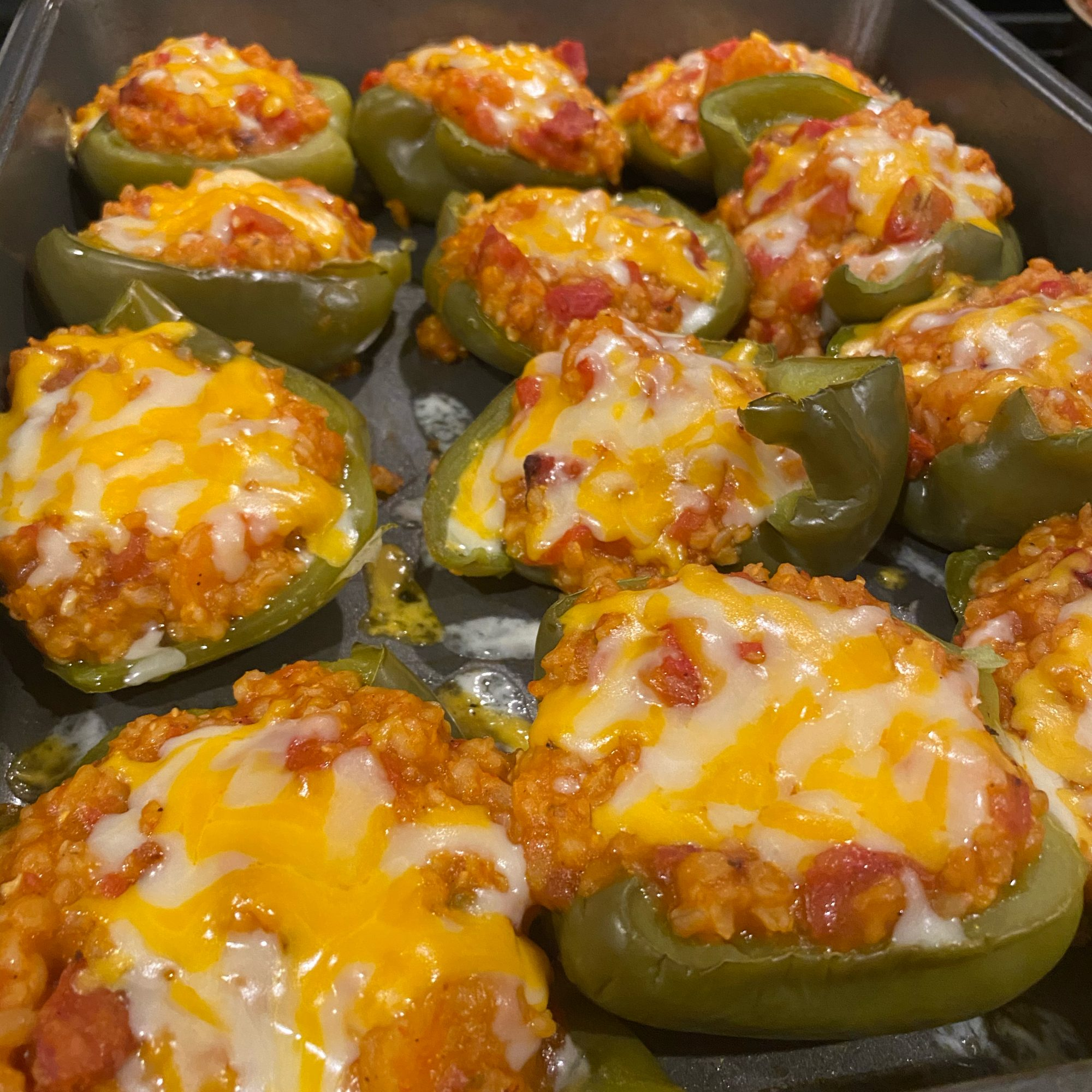 close up of Cajun Style Stuffed Peppers