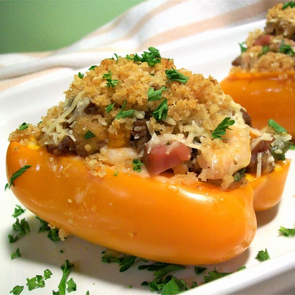N'Awlins Stuffed Bell Peppers on a white plate