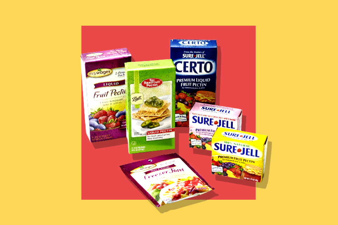 commercial pectin products on yellow and red-orange background