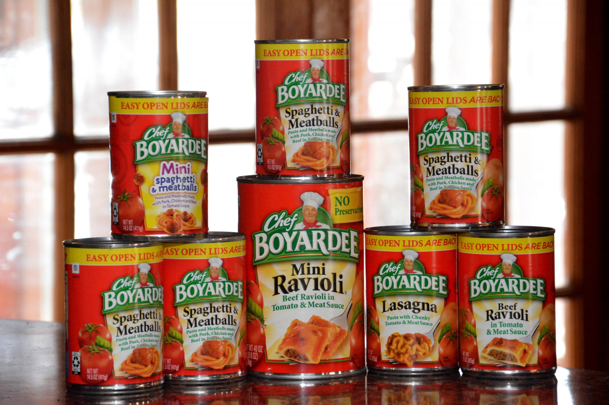 Various packaged canned pasta Chef Boyardee