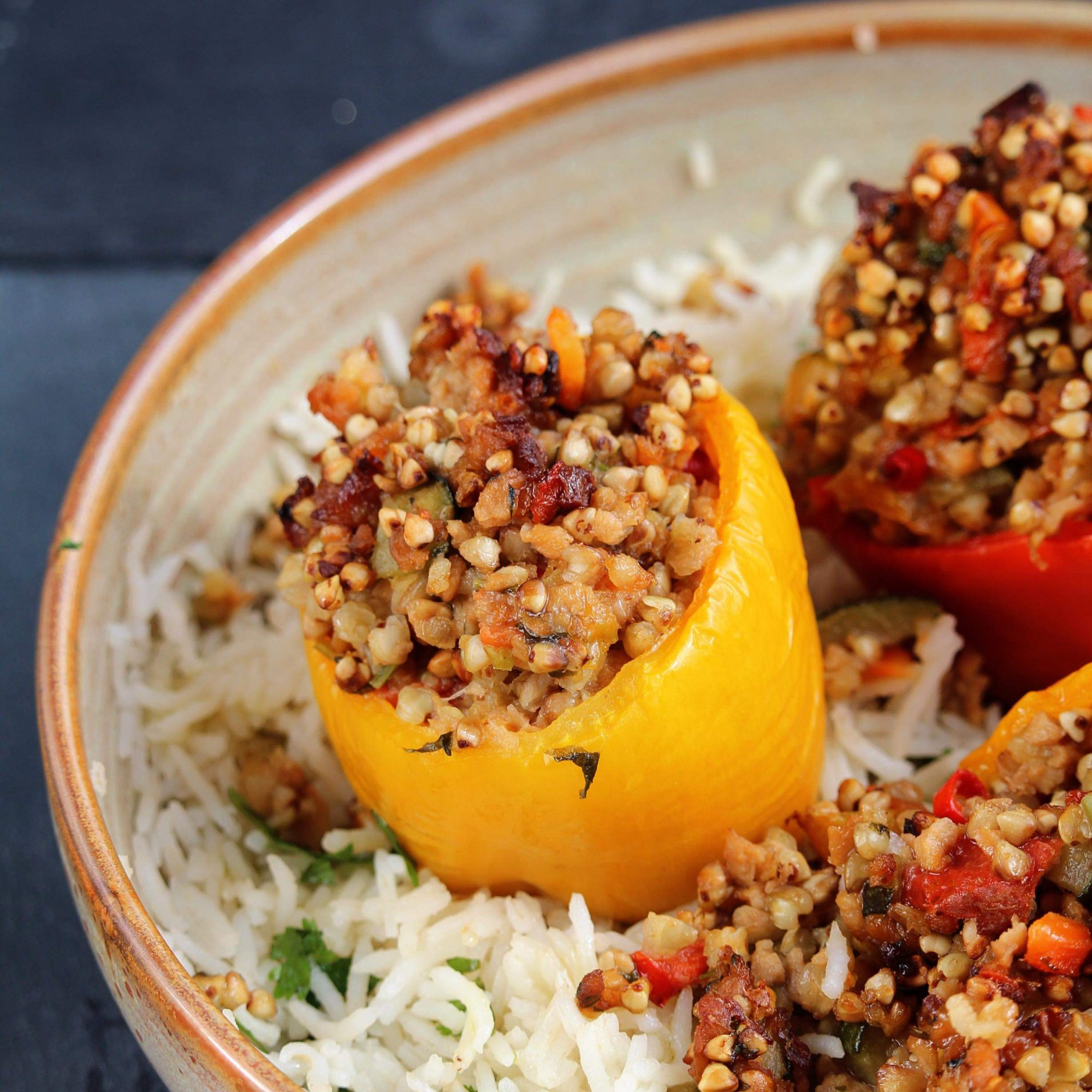 bell peppers stuffed with buckwheat