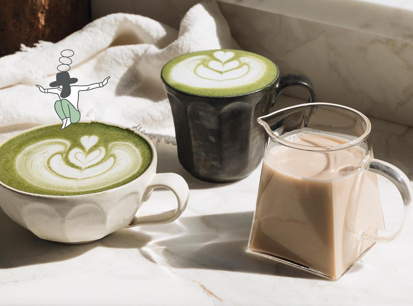 tache pistachio milk in lattes and by itself