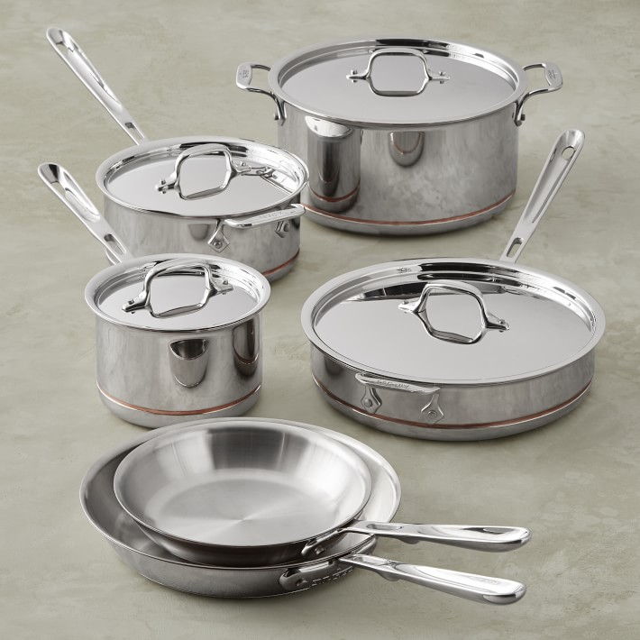 All Clad stainless steel pots with copper core