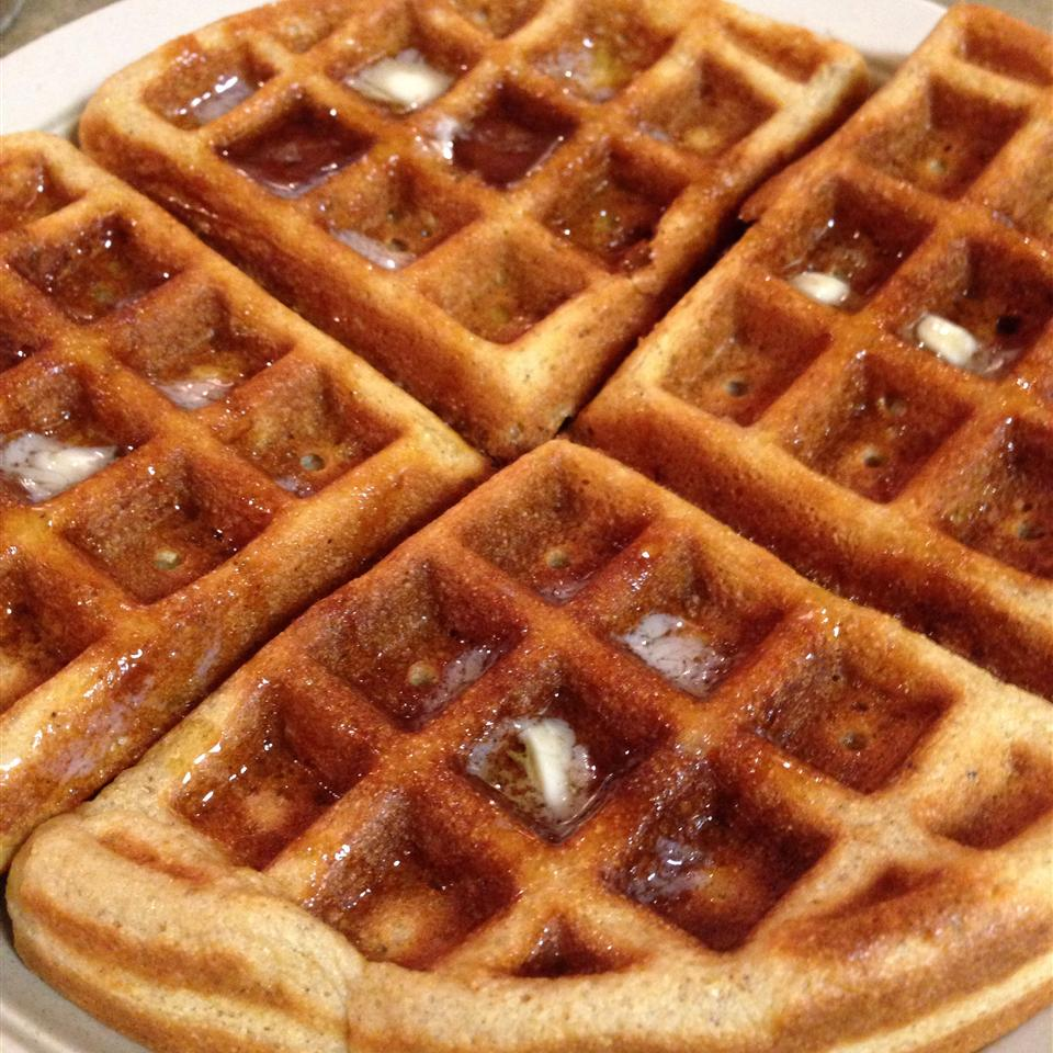 large waffle with butter