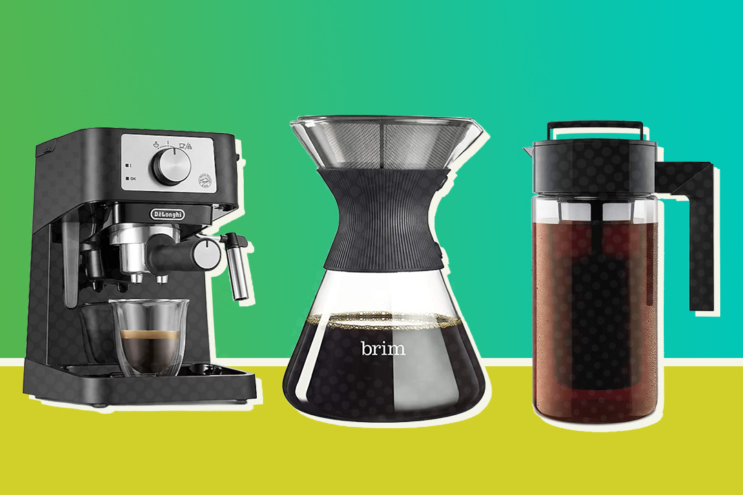3 coffee makers on gradient background