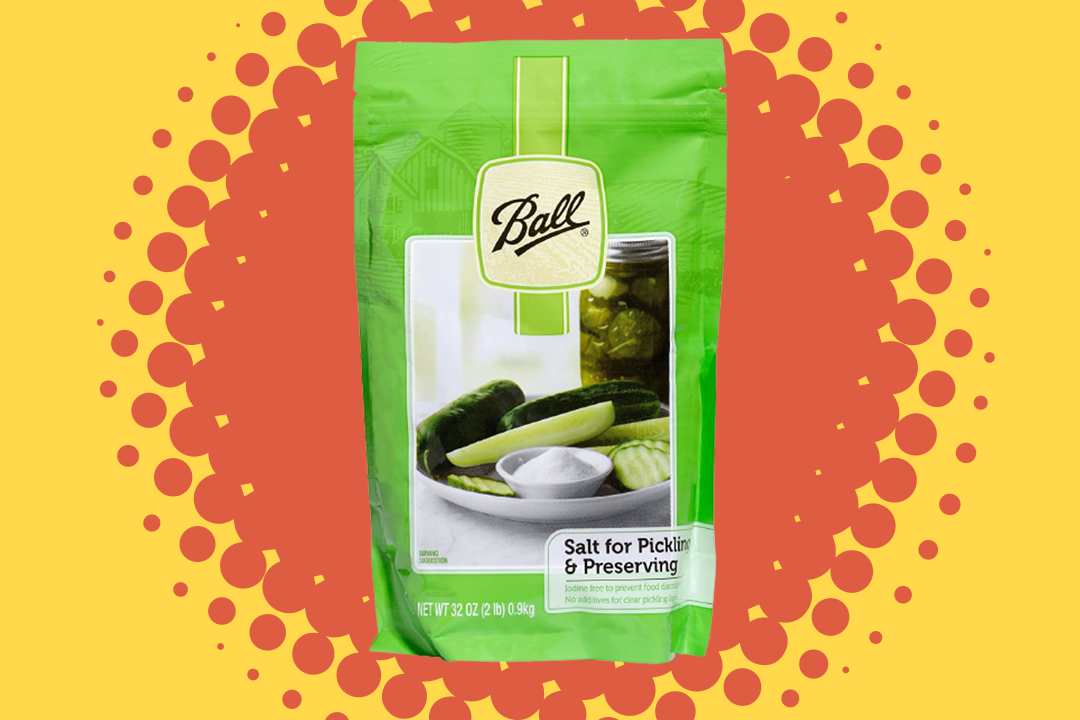 ball pickling salt in green package on red/orange and yellow burst background