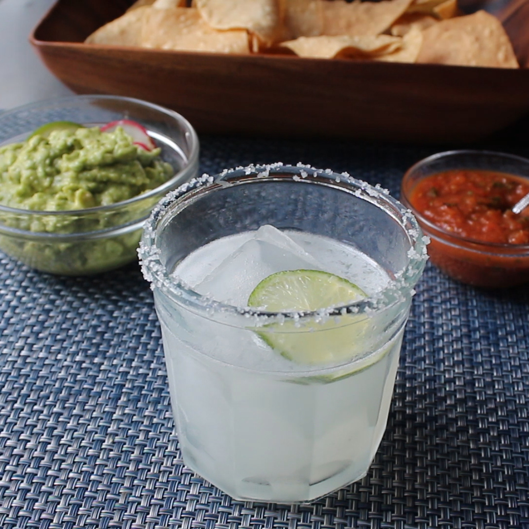 The Perfect Margarita with chips and dip