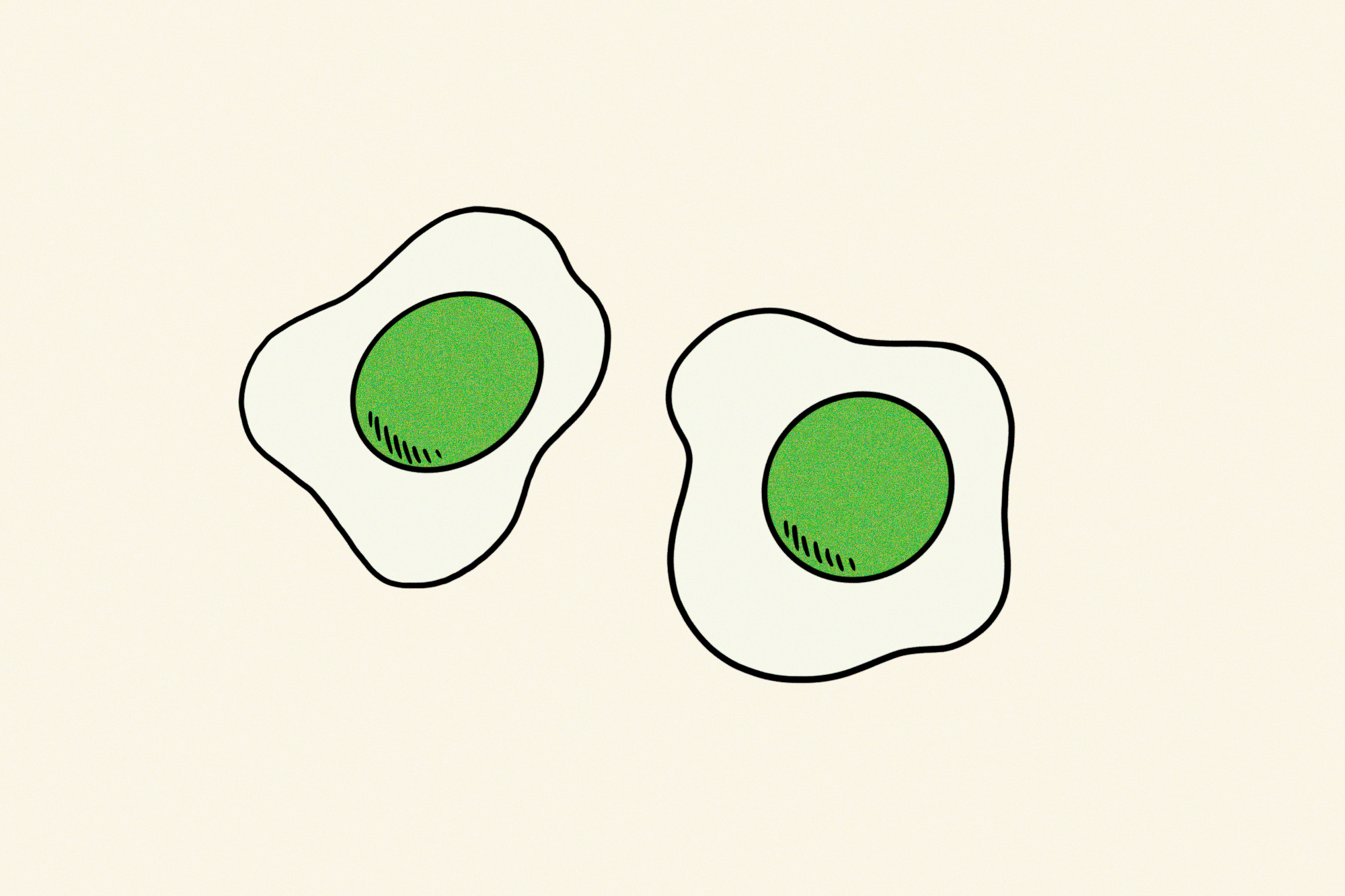 two eggs with green yolks