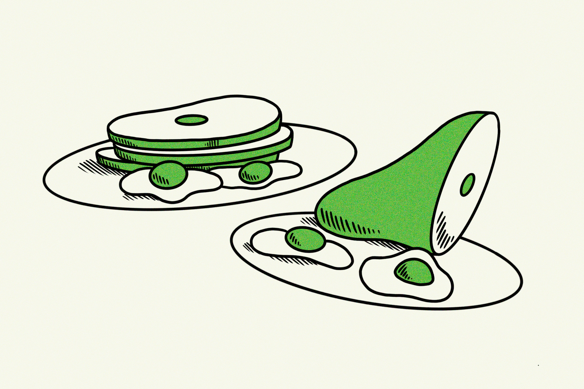 green eggs and ham on plates