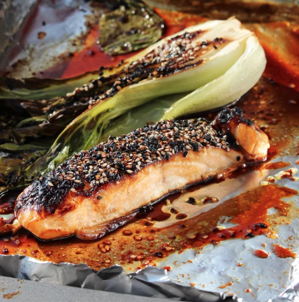 You only need seven ingredients — miso, mirin (a sweet rice wine) sake, brown sugar, soy sauce, salmon fillets, and bok choy — to make this simple and healthy meal.