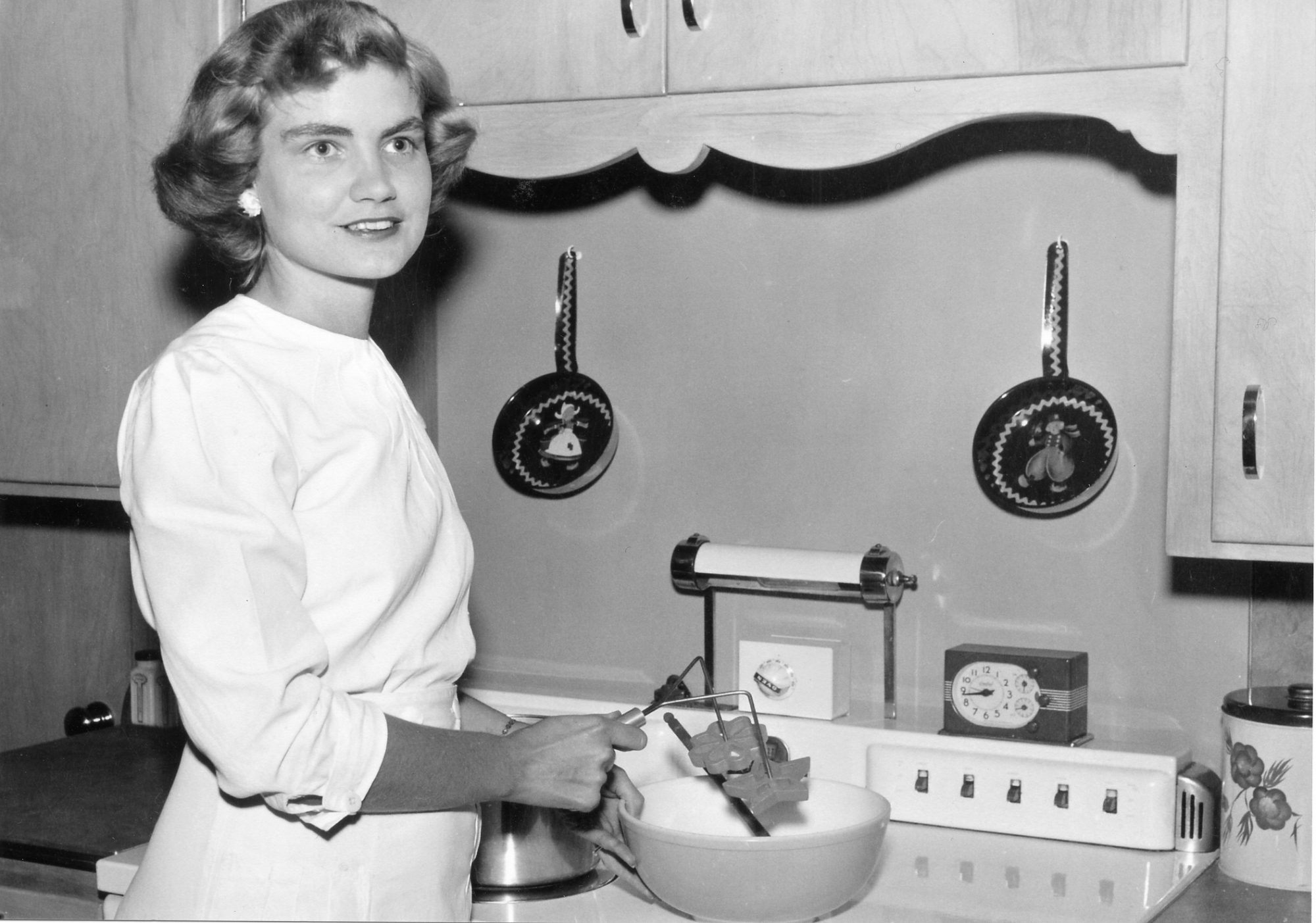 woman in a vintage kitchen