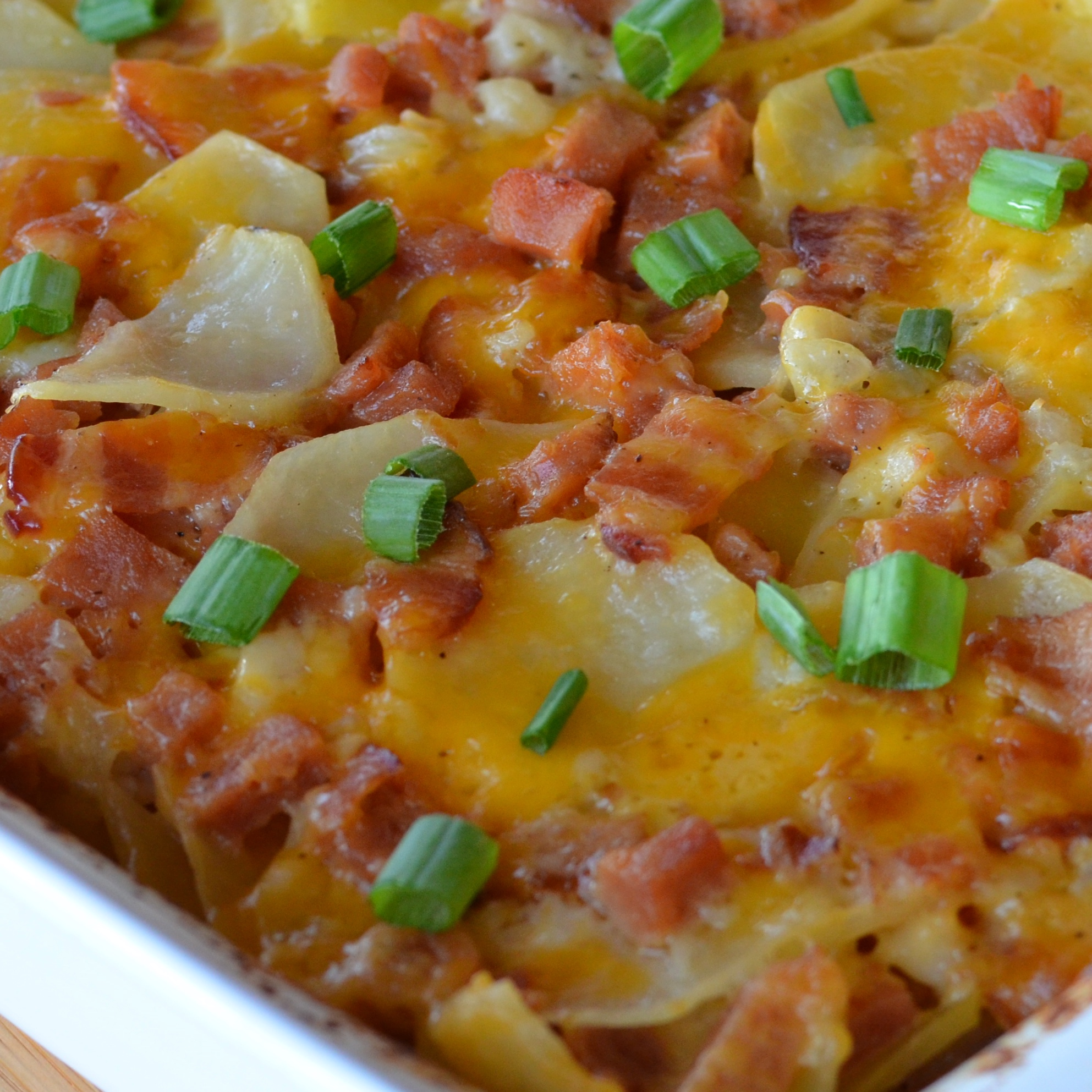 Scalloped Potatoes with Ham and Bacon