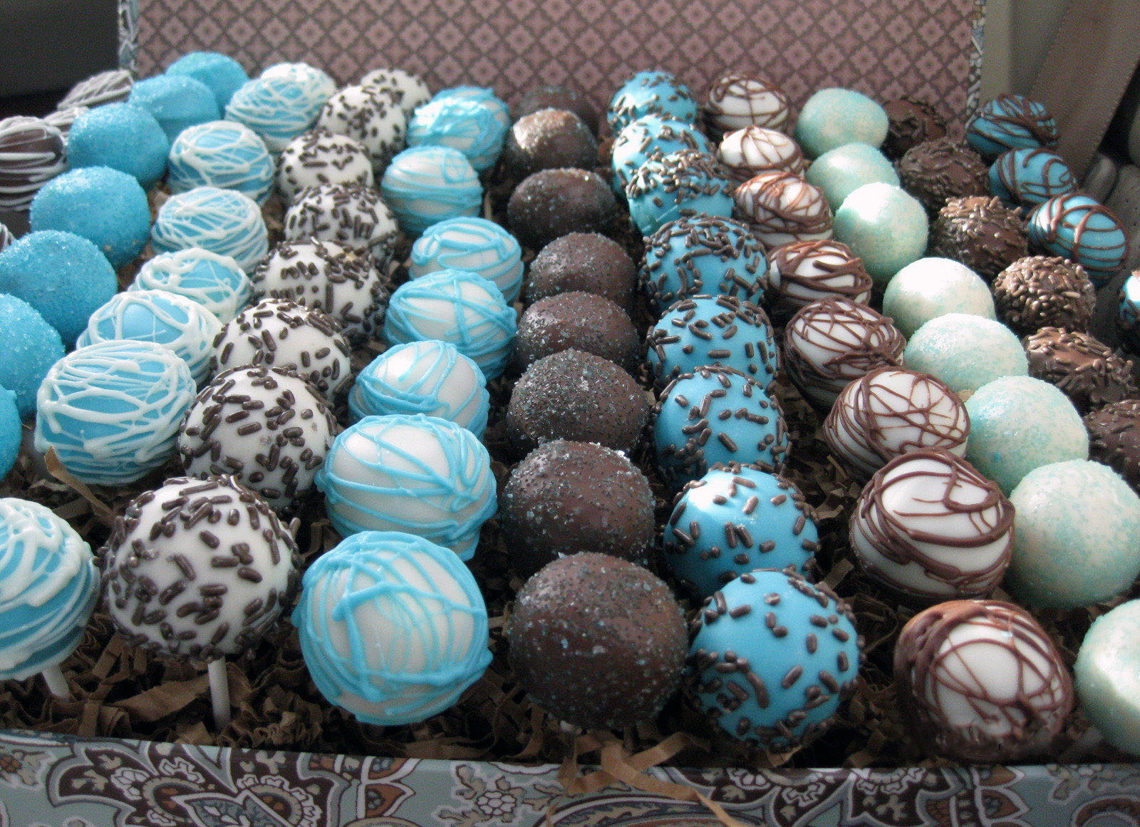rows of decorated cake pops displayed in a box: combinations of chocolate, white chocolate, blue tinted frosting, and sprinkles