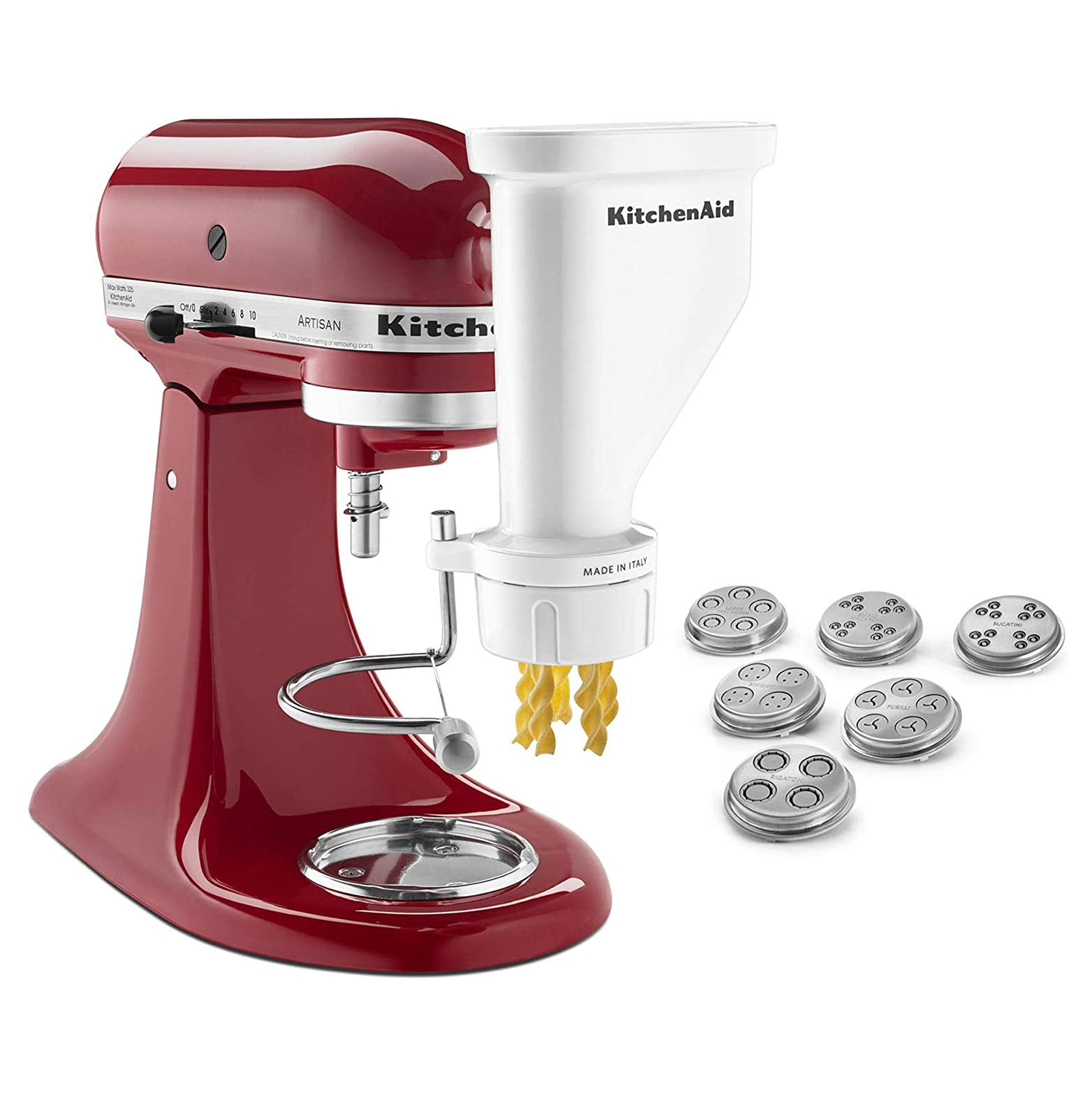 KitchenAid red mixer with pasta attachments