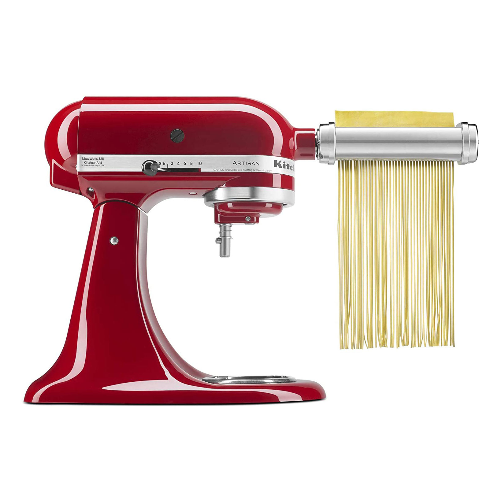 red kitchenaid mixer with pasta making attachment