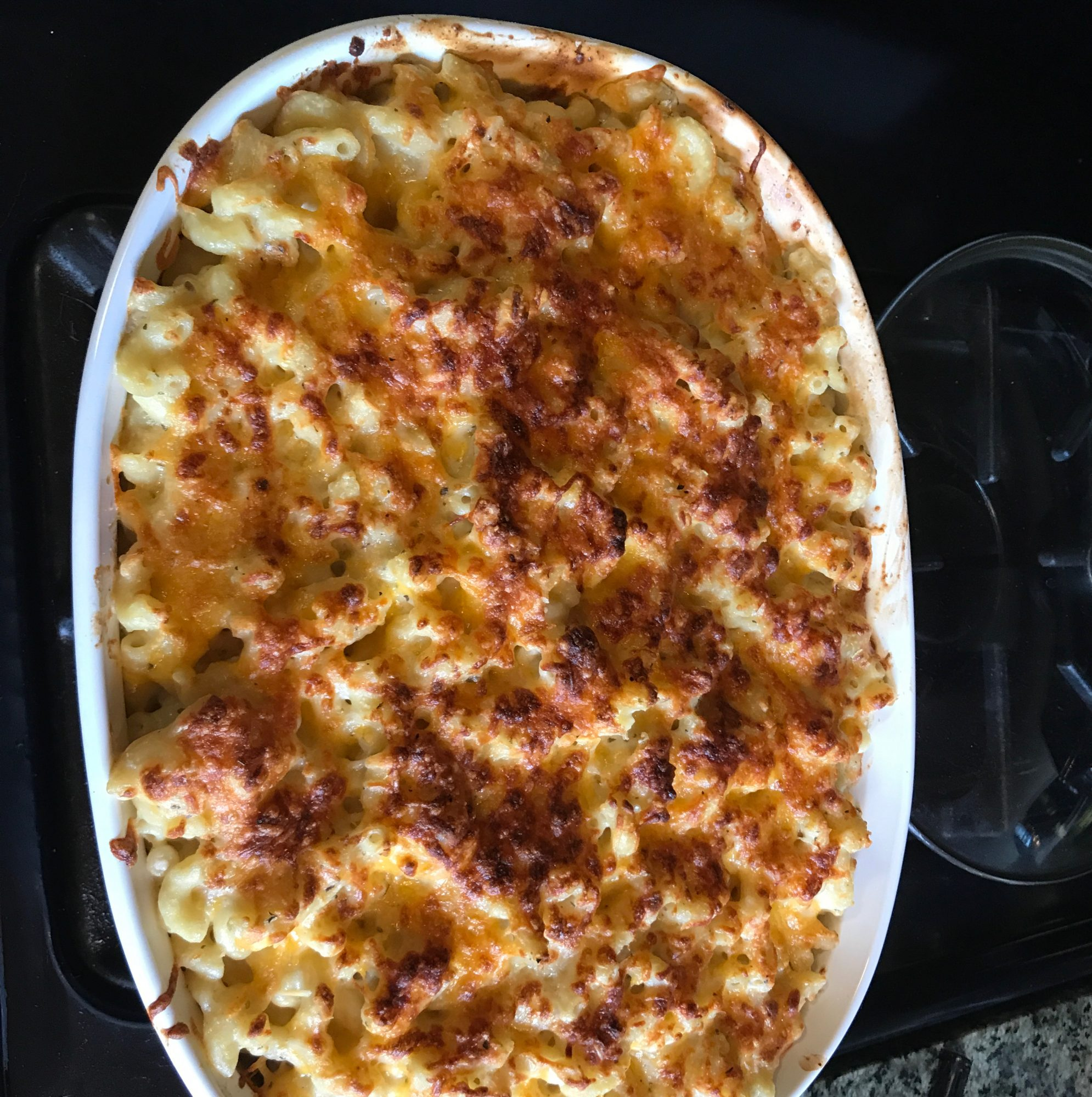 Wisconsin Five-Cheese Bake in a white dish