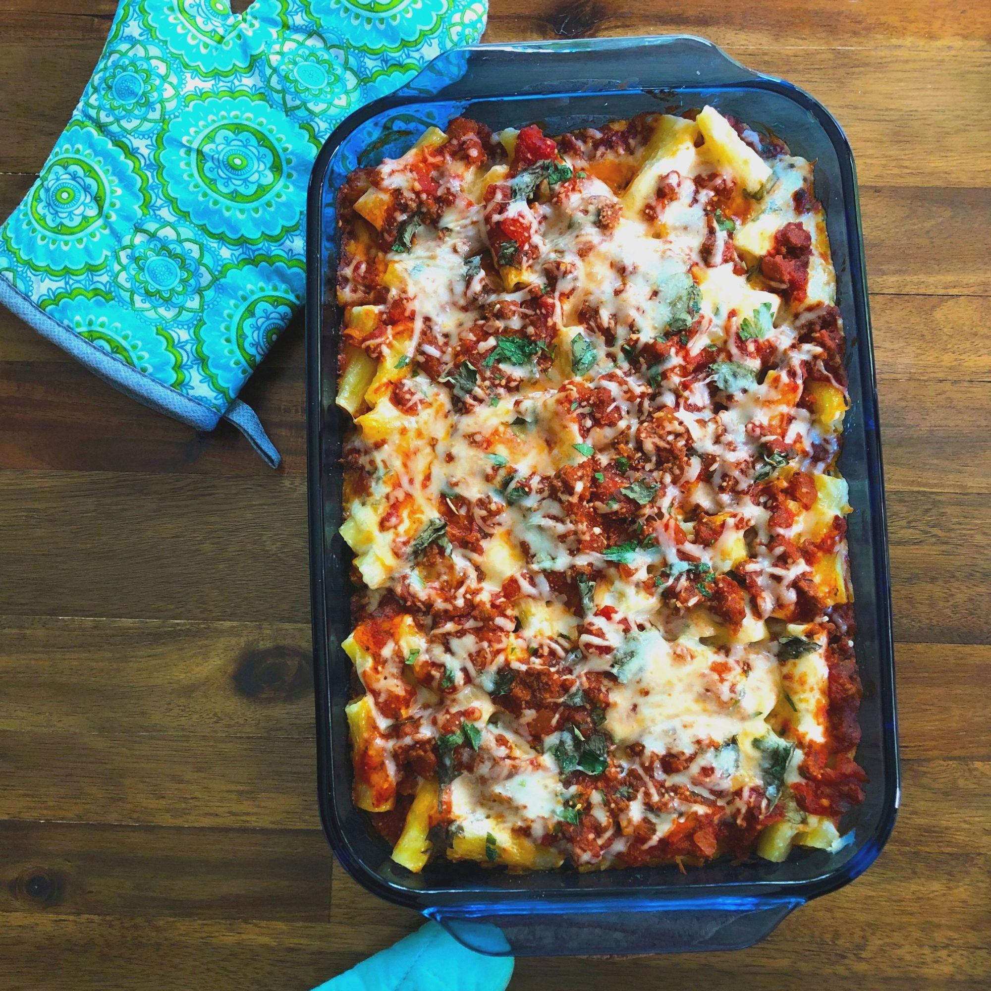 Baked Ziti in a blue dish