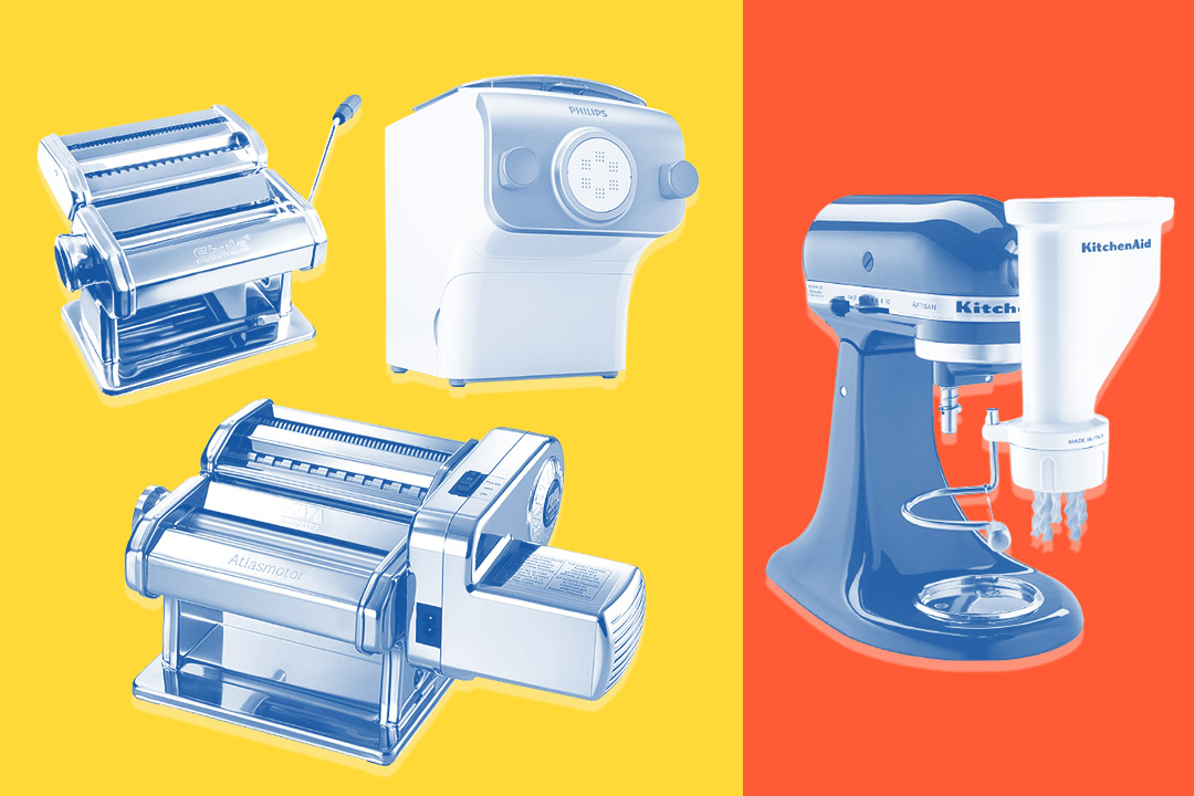 four different pasta makers on yellow and orange background