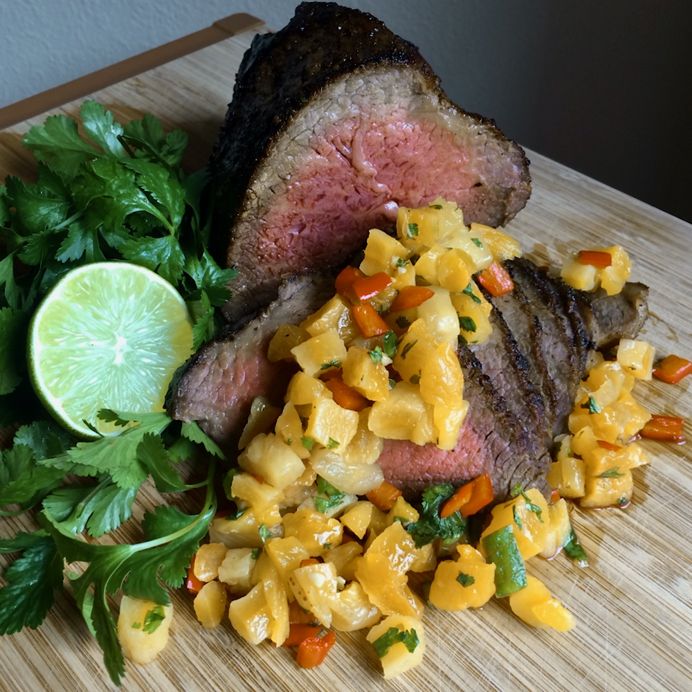 Oven-Roasted Tri-Tip with Apricot and Pineapple Salsa