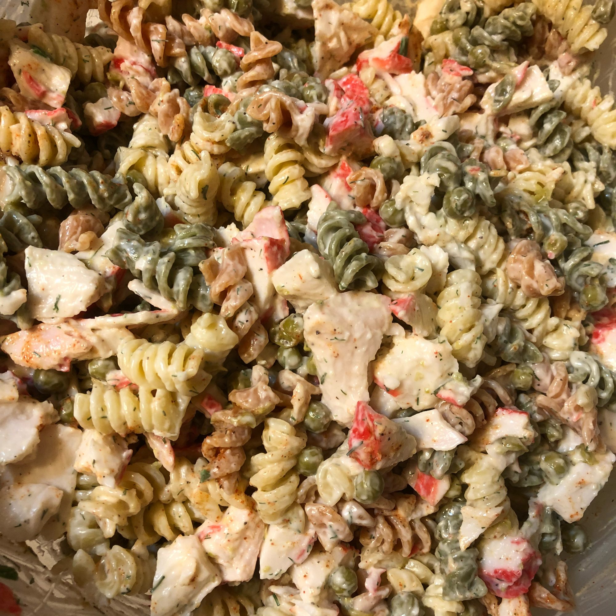 """""""Loved this salad!"""" exclaims reviewer spice of life. """"We did make a couple of changes. We doubled the imitation crabmeat, added about 4 oz. of halved grape tomatoes, and used creamy Caesar salad dressing instead of mayo."""""""