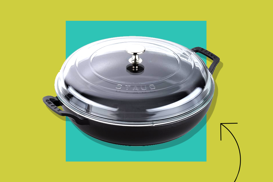 staub 3 1/2 quart everything pan on a green and teal background