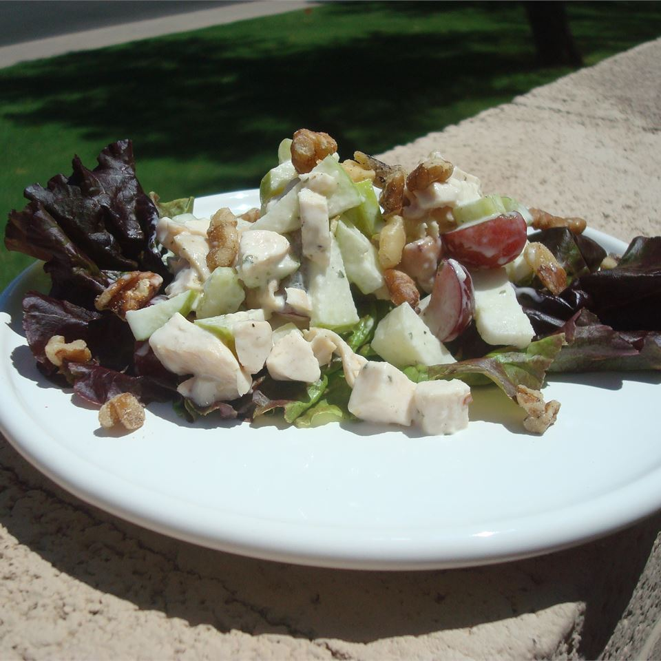 chicken salad with lettuce on white plate