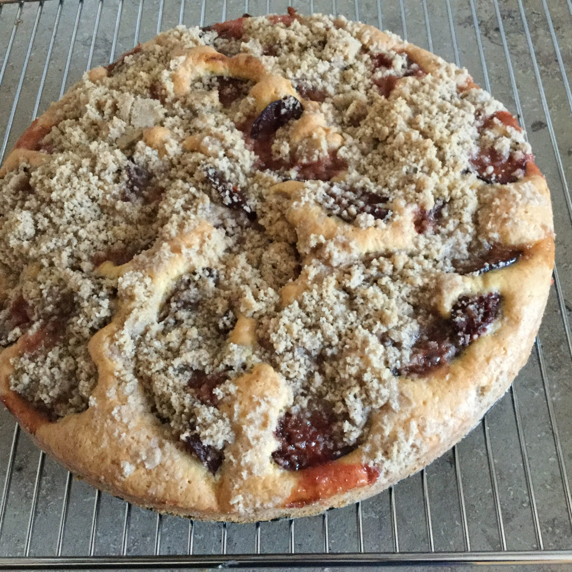 Plum Kuchen on a cooling rack
