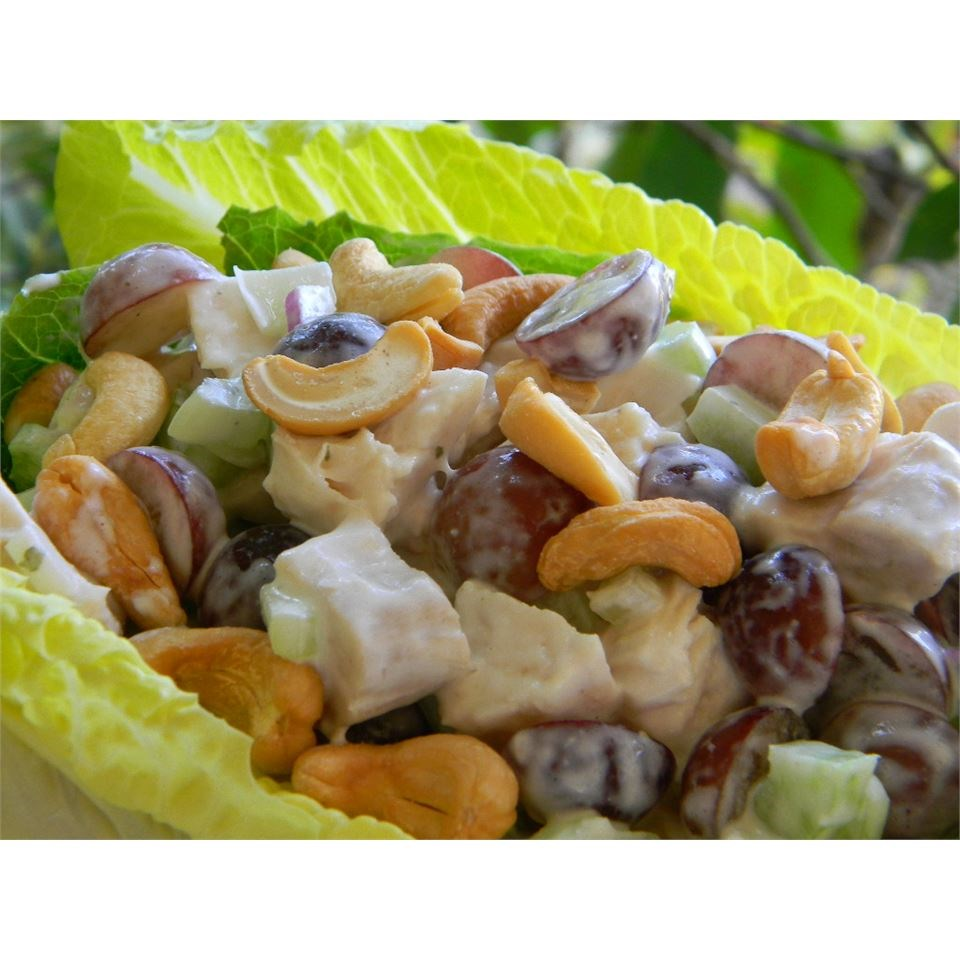 chicken salad in lettuce bowl with cashews