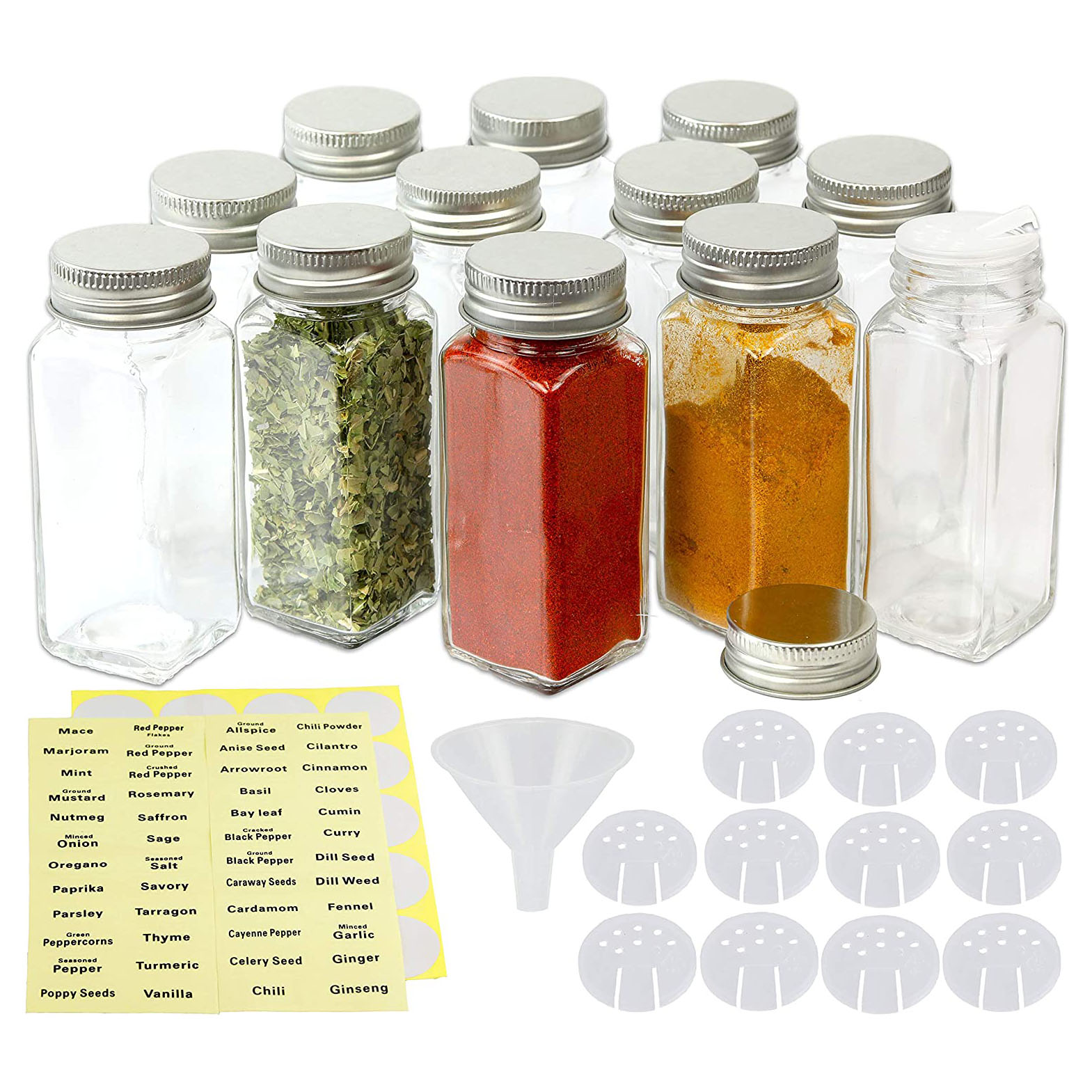Simple Houseware 12-Pack 4 Ounce Square Spice Bottles