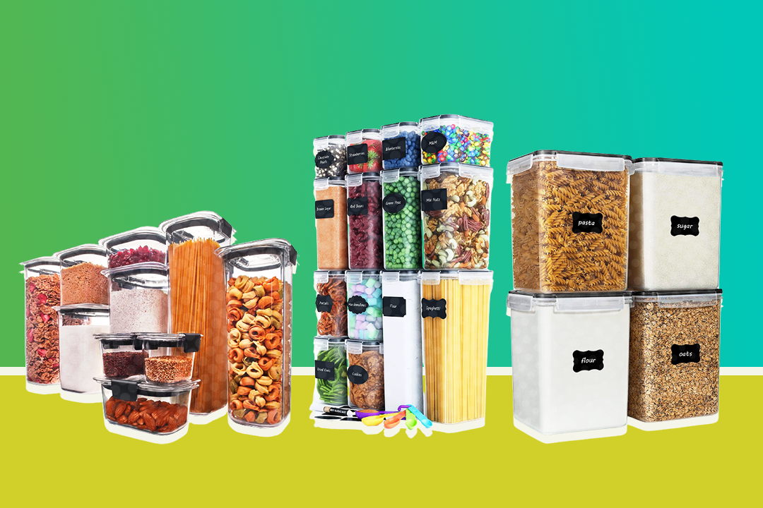 three sets of dry food storage containers on a green background