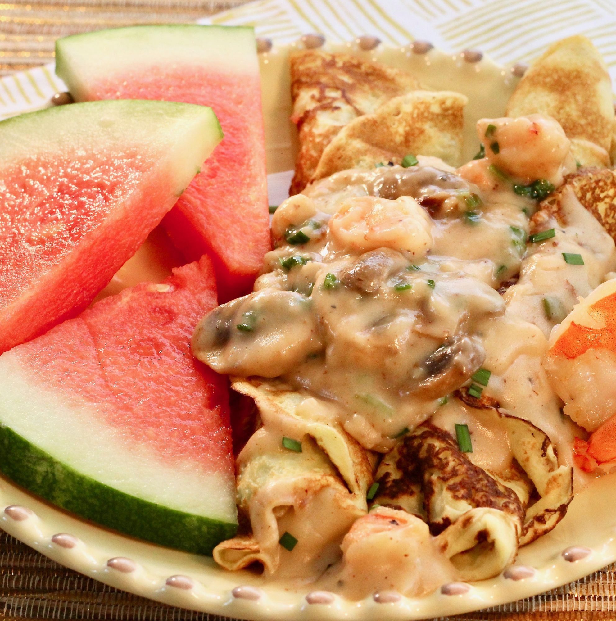 seafood crepes with watermelon
