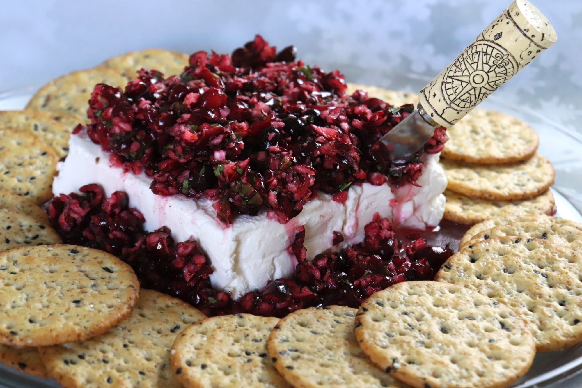 portrait shot cranberry cream cheese dip