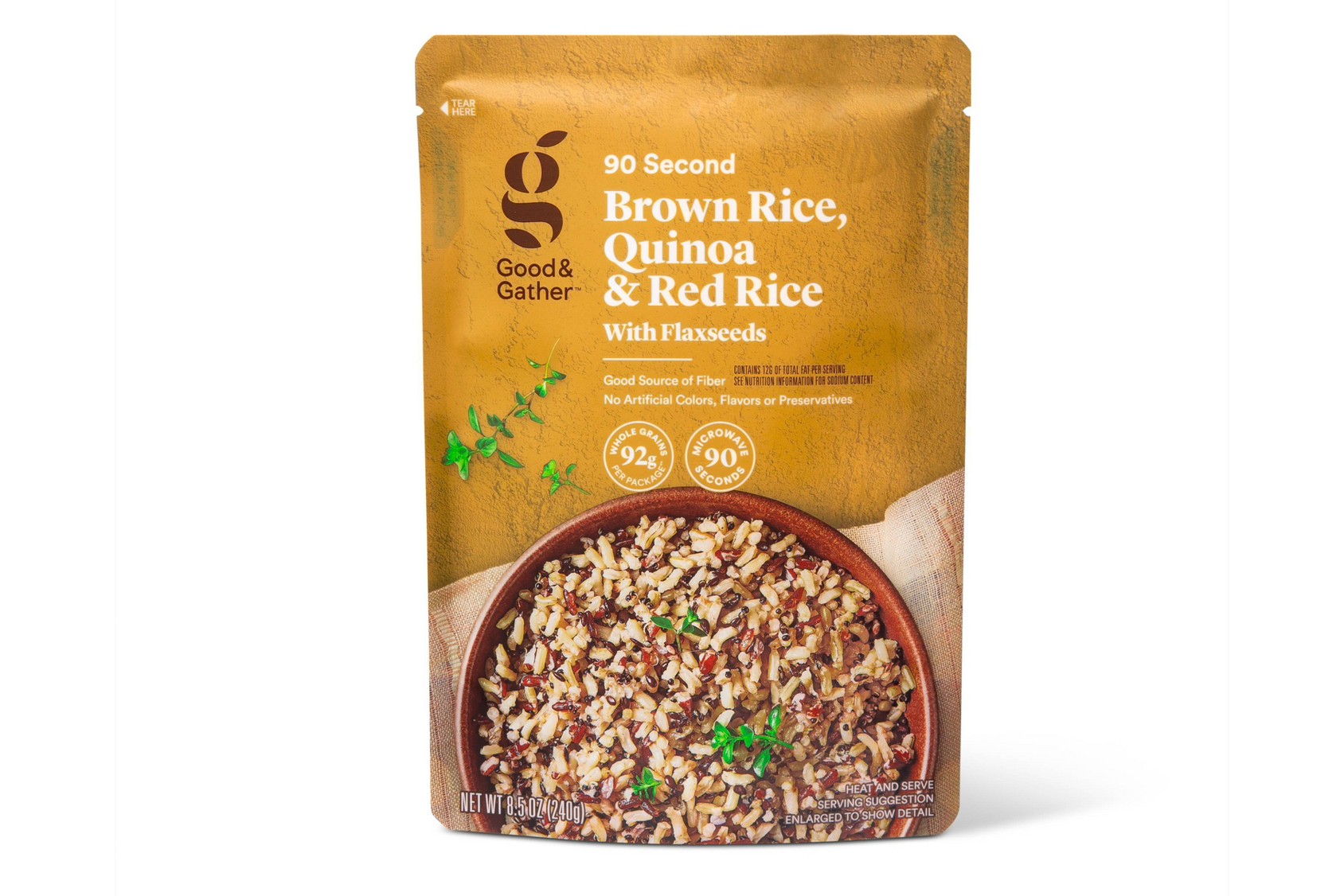 Brown Rice, Quinoa & Red Rice with Flaxseeds Microwavable Pouch - 8.5oz - Good & Gather