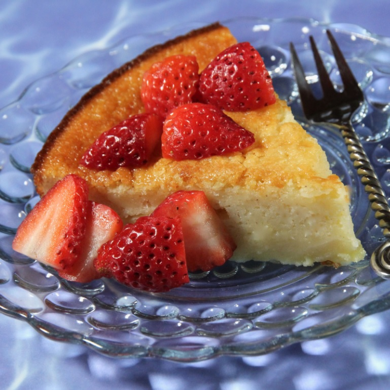 a slice of pie with strawberries