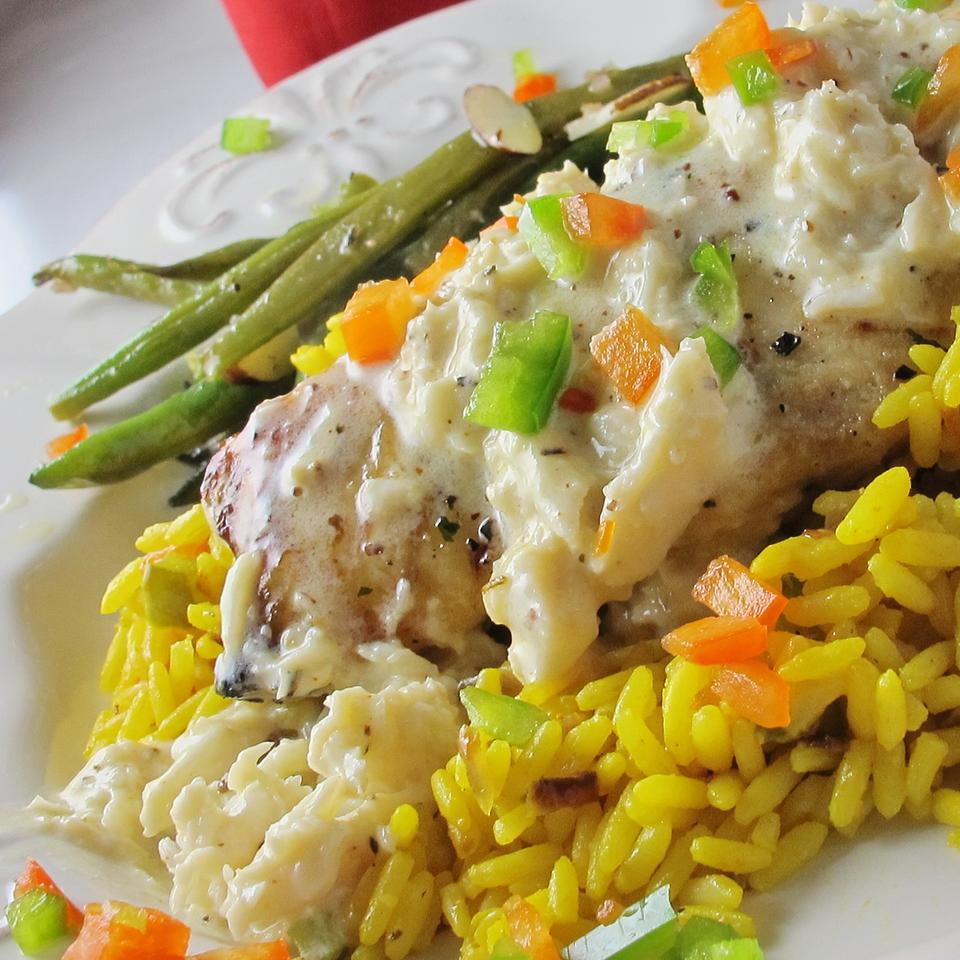 grouper stuffed with crab over rice with green beans