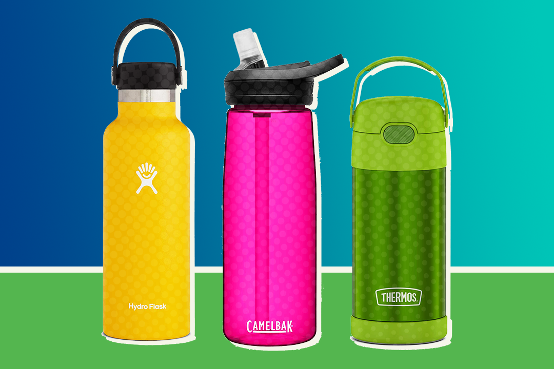3 water bottles (one yellow, one pink, and one green) on a green and blue background