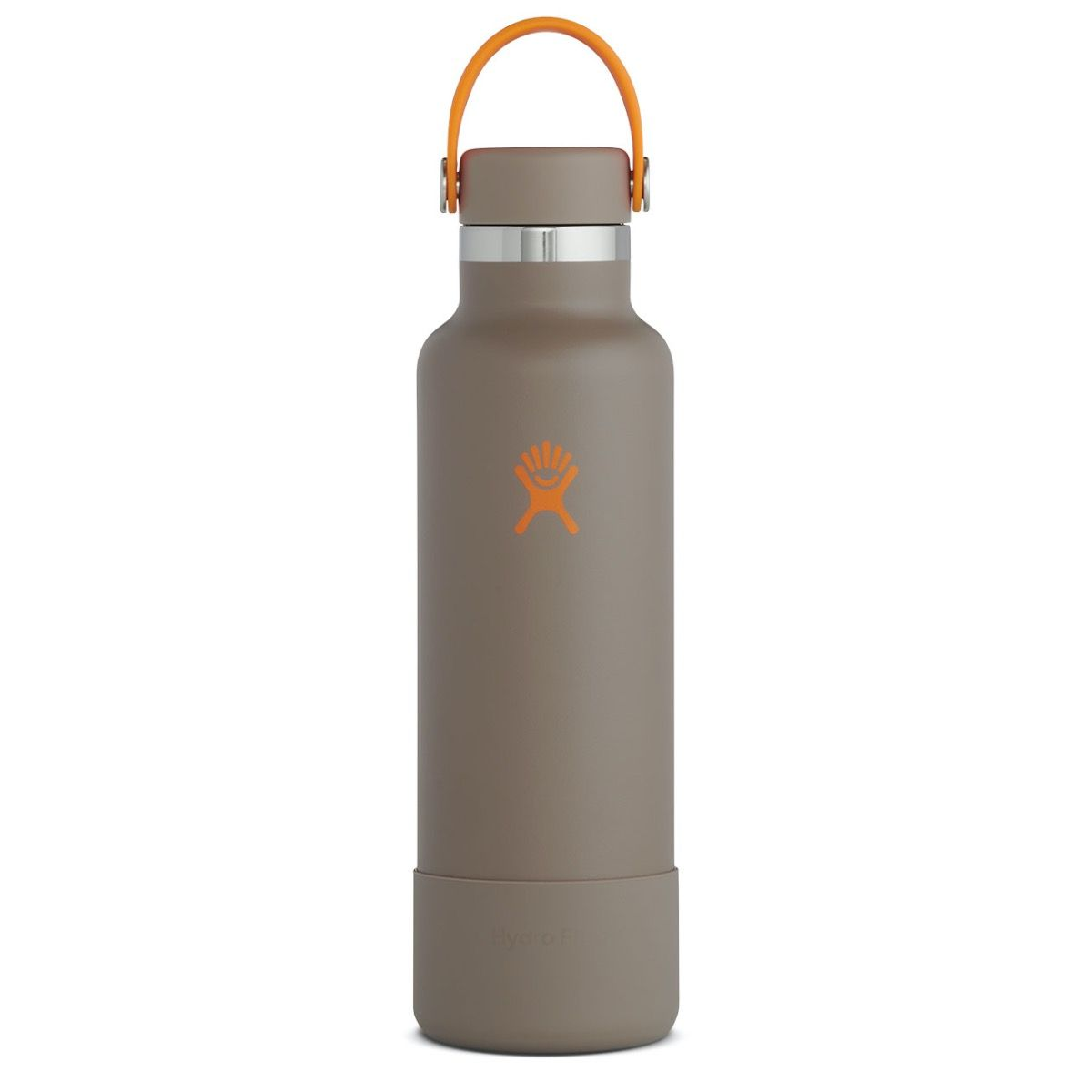 gray water bottle with orange logo and handle