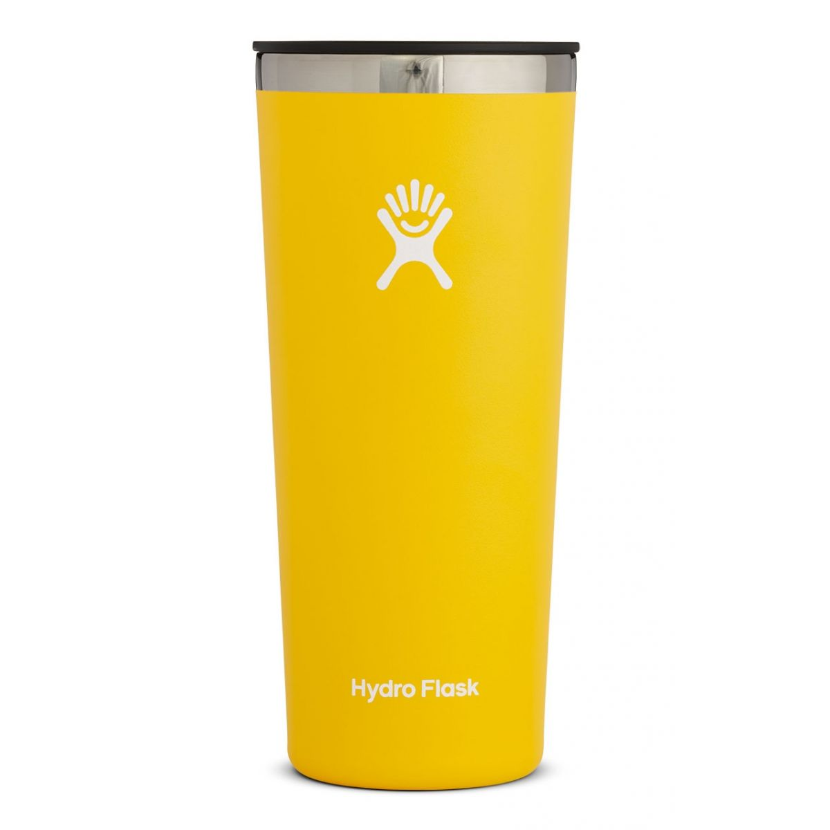 yellow tall tumbler with black lid
