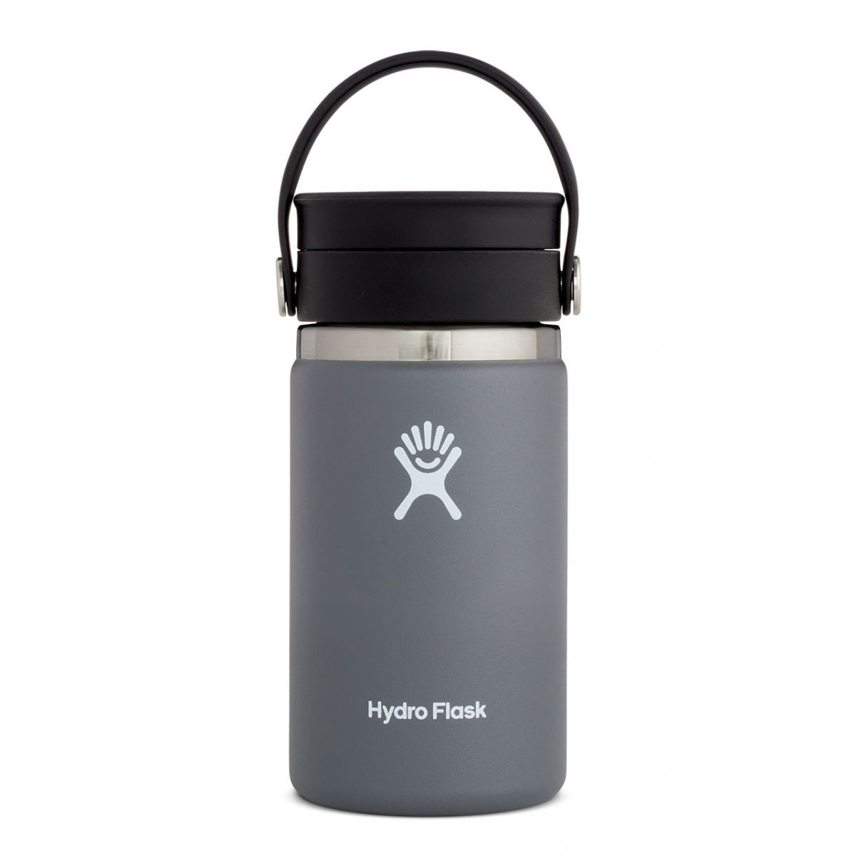 gray water bottle with black lid