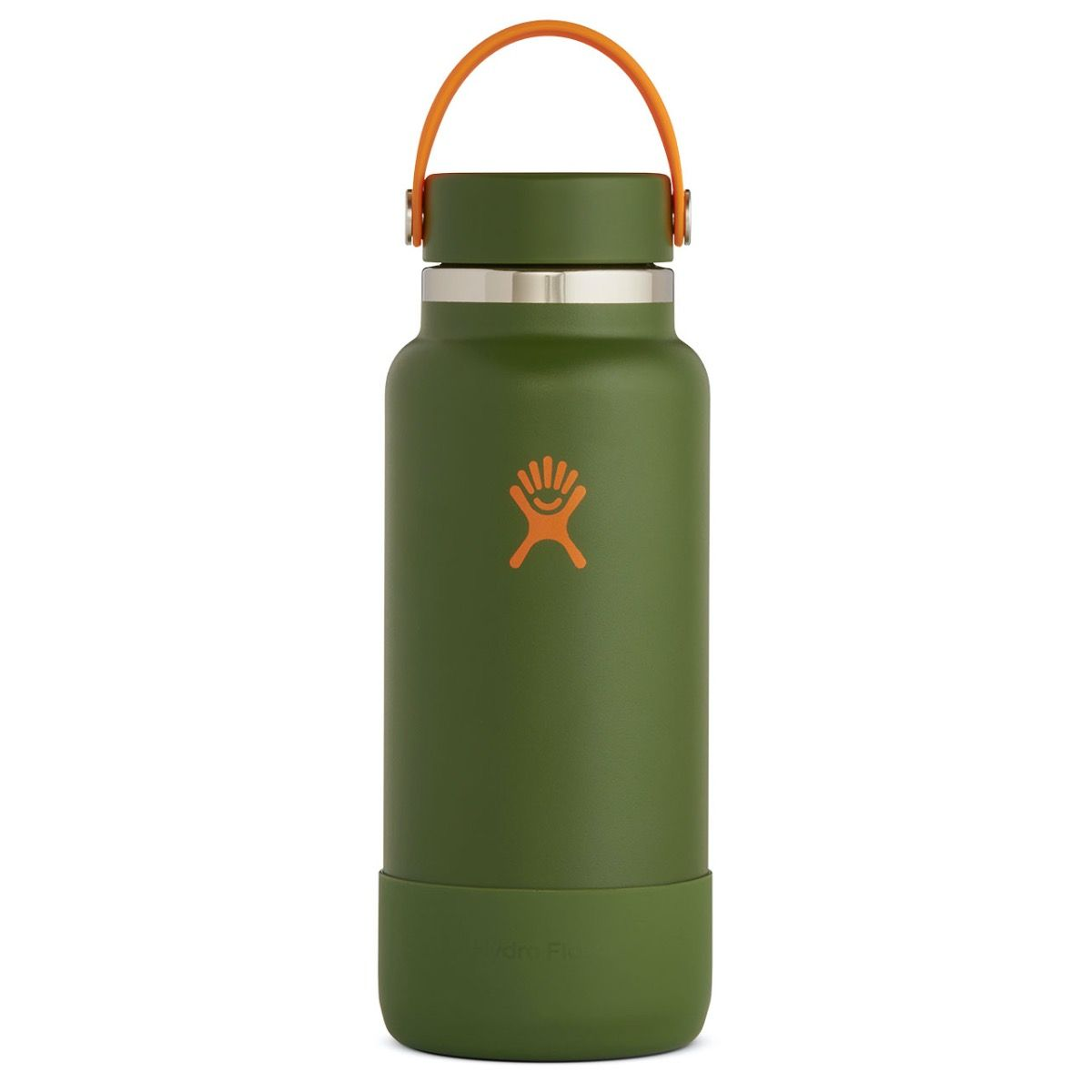 tree green water bottle with orange hydro flask logo
