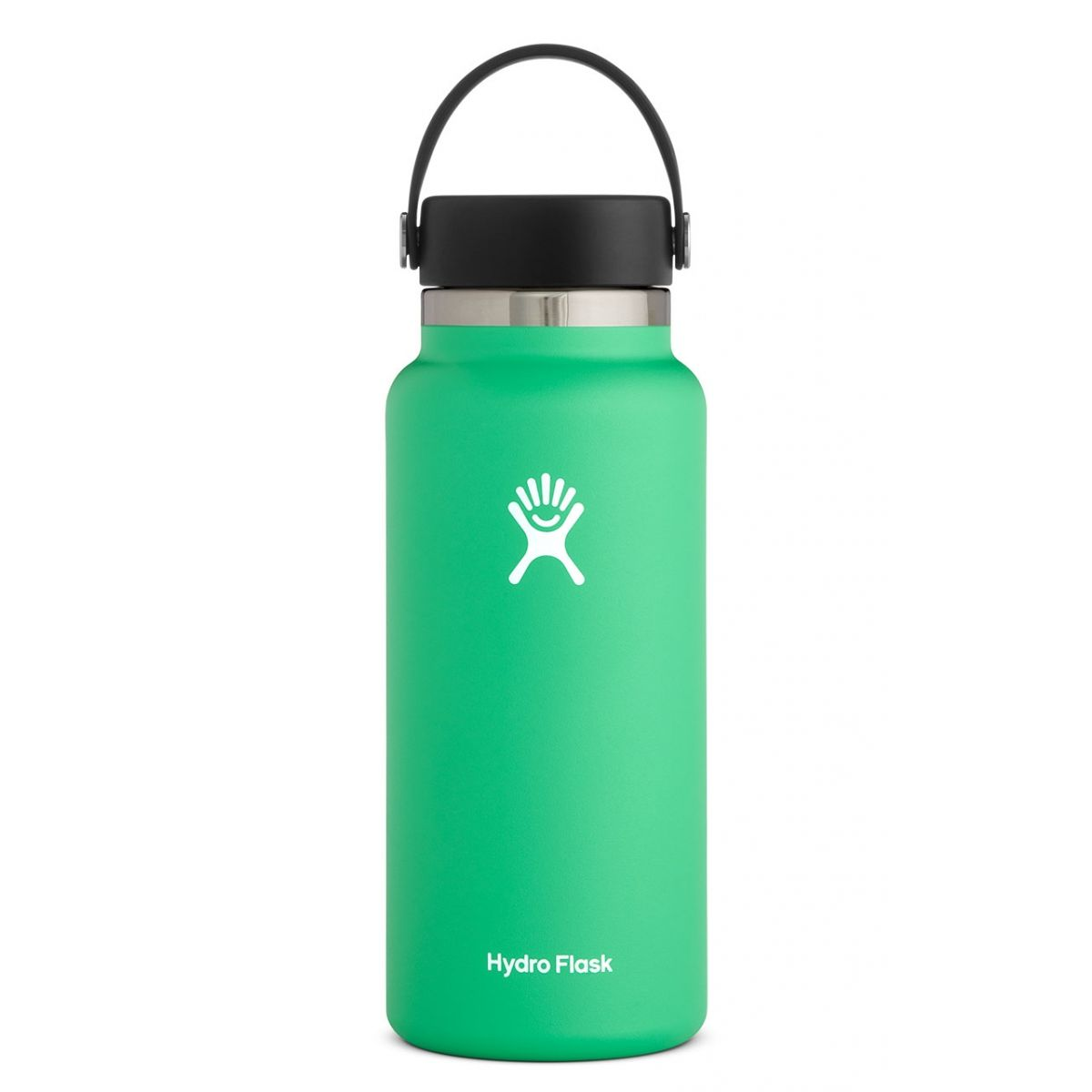light green water bottle with black lid